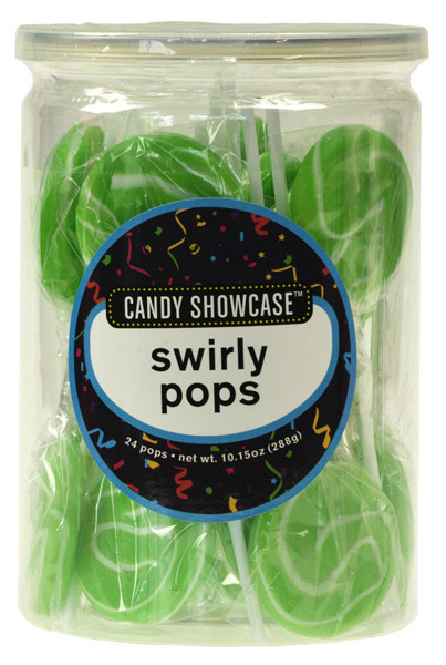 Candy Showcase Swirly Pops - Green and White, by Lolliland,  and more Confectionery at The Professors Online Lolly Shop. (Image Number :8975)