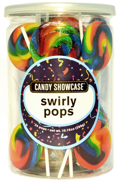 Candy Showcase Swirly Pops - Rainbow, by Lolliland,  and more Confectionery at The Professors Online Lolly Shop. (Image Number :8972)