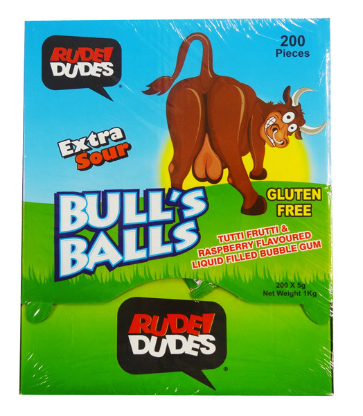 Rude Dudes - Bull s Ball - Extra Sour Bubble Gum, by AIT Confectionery,  and more Confectionery at The Professors Online Lolly Shop. (Image Number :8910)