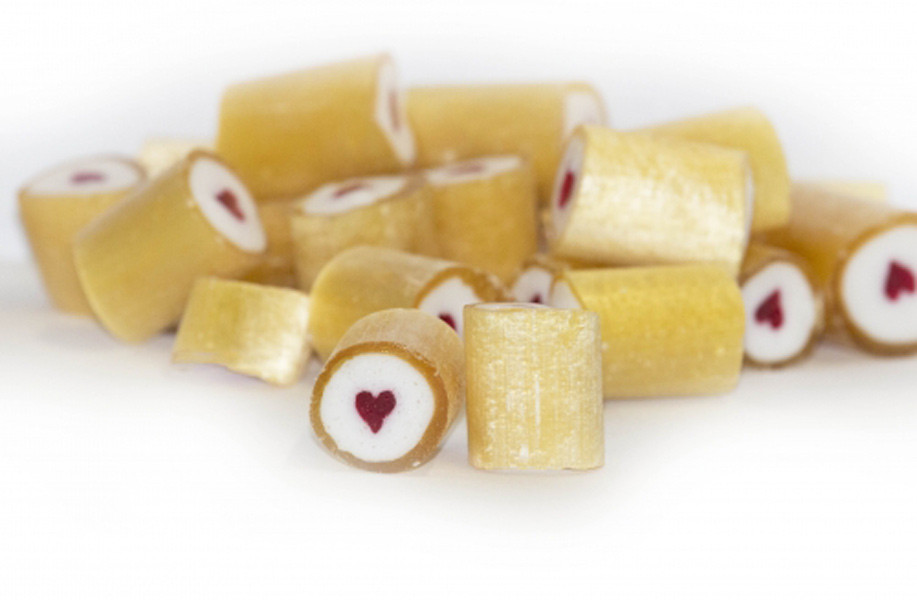 Rock Candy - Gold and White - Red Heart Center, by Designer Candy,  and more Confectionery at The Professors Online Lolly Shop. (Image Number :9086)