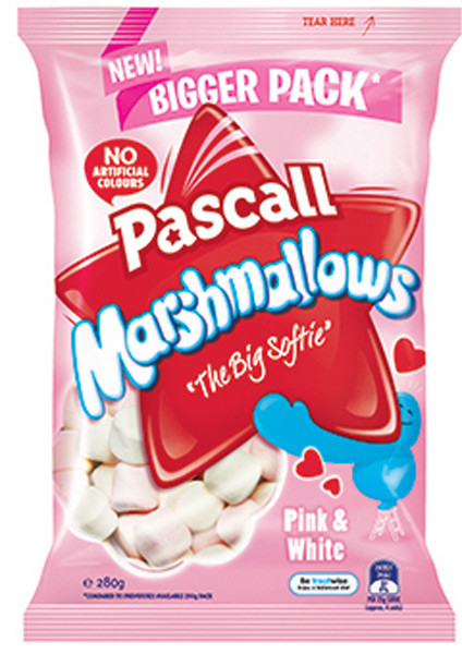 Pascall Marshmallows - Raspberry and Vanilla, by Pascall,  and more Confectionery at The Professors Online Lolly Shop. (Image Number :9296)