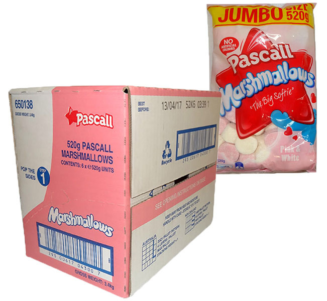 Pascall Marshmallows - Raspberry and Vanilla, by Pascall,  and more Confectionery at The Professors Online Lolly Shop. (Image Number :9843)