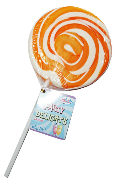 Lolly Mania Party Delights Lollipops - Orange - Orange Flavour, by Lolly Mania/Other,  and more Confectionery at The Professors Online Lolly Shop. (Image Number :9036)
