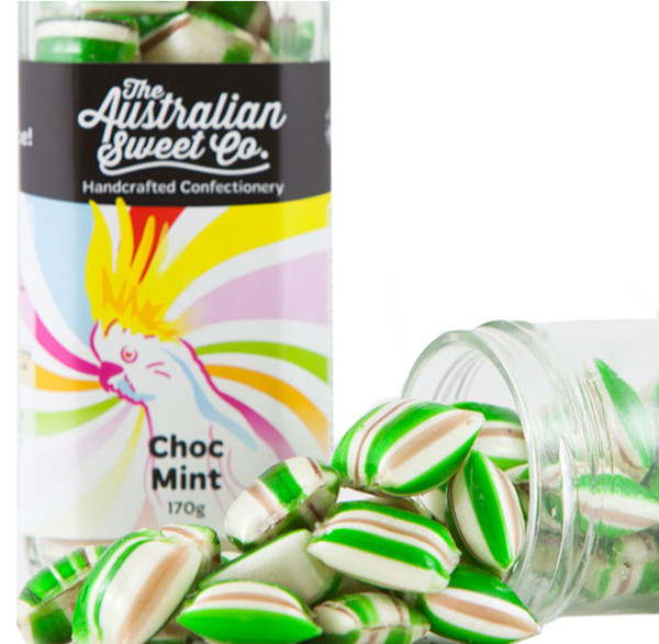 Choc Mint Humbugs, by The Australian Sweet Company,  and more Confectionery at The Professors Online Lolly Shop. (Image Number :9285)