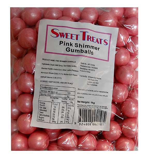 Sweet Treats Shimmer Gumballs Bulk - Pink, by Brisbane Bulk Supplies,  and more Confectionery at The Professors Online Lolly Shop. (Image Number :10089)