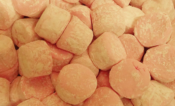 Pascall Pink Marshmallow Cylinders, by Pascall,  and more Confectionery at The Professors Online Lolly Shop. (Image Number :10038)