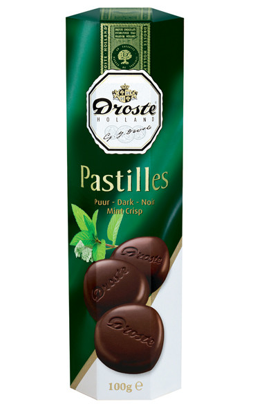 Droste Rolls Mint Crisp Dark Chocolate and more Confectionery at The Professors Online Lolly Shop. (Image Number :9230)