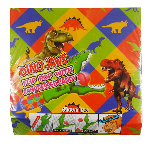 Dino Jaws - Flip Pop with Compressed Candy, by AIT Confectionery,  and more Confectionery at The Professors Online Lolly Shop. (Image Number :9287)