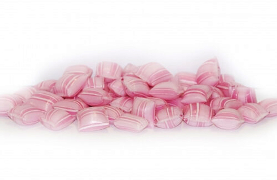 Rock Candy Pillows - Pin Striped - Pink with a Strawberry and Cream Flavour, by Designer Candy,  and more Confectionery at The Professors Online Lolly Shop. (Image Number :9395)