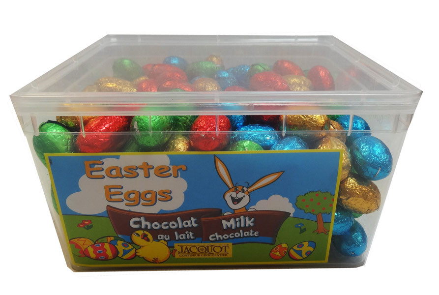 Jacquot Foiled Solid Milk Chocolate Eggs, by Jacquot,  and more Confectionery at The Professors Online Lolly Shop. (Image Number :9582)