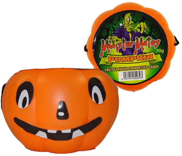 Monster Mates - Pumpkin Head  filled with Compressed Candy, by AIT Confectionery,  and more Confectionery at The Professors Online Lolly Shop. (Image Number :9389)