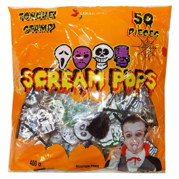 Scream Pops - Tongue Stamp, by Lolliland,  and more Confectionery at The Professors Online Lolly Shop. (Image Number :9382)