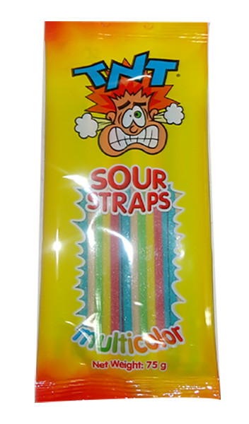 TNT Sour Straps - Hang Sell Bags -  Multicolour Packs, by TNT,  and more Confectionery at The Professors Online Lolly Shop. (Image Number :9860)