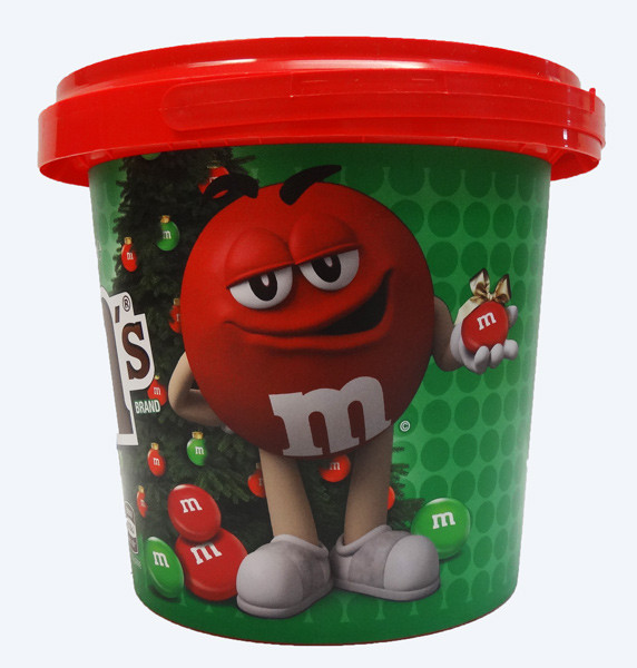M&M Christmas Bucket, by Mars,  and more Confectionery at The Professors Online Lolly Shop. (Image Number :9438)