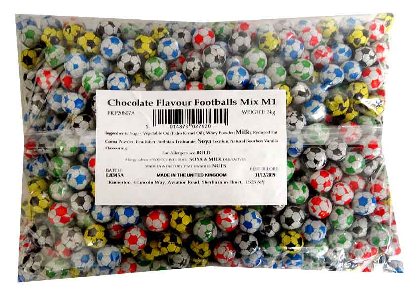 Choc Footballs, by Kingsway,  and more Confectionery at The Professors Online Lolly Shop. (Image Number :13109)