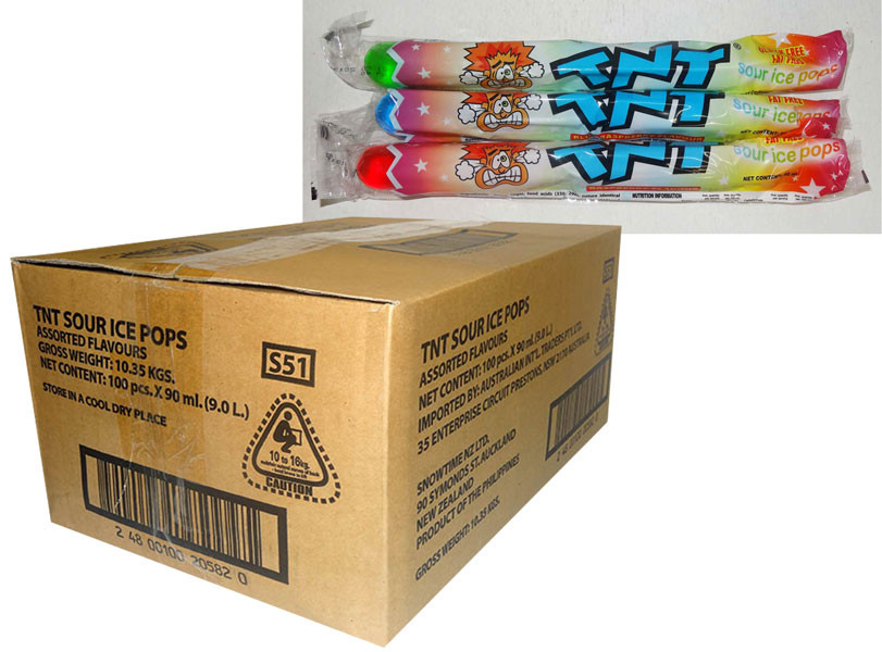 TNT Sour Ice Pops, by AIT Confectionery,  and more Snack Foods at The Professors Online Lolly Shop. (Image Number :9859)