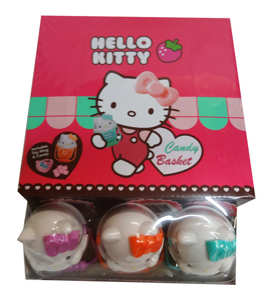 Hello Kitty Candy Baskets - Hard Candy + Toy Ring and more Confectionery at The Professors Online Lolly Shop. (Image Number :9618)