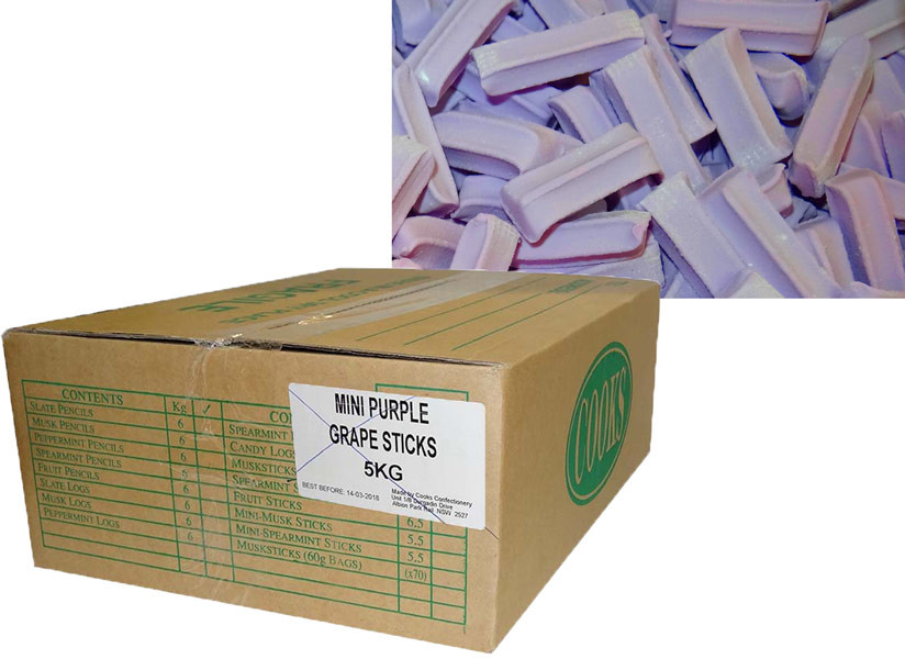 Premium Mini Fruit Sticks Bulk - Purple with a Grape Flavour, by Cooks Confectionery,  and more Confectionery at The Professors Online Lolly Shop. (Image Number :9883)
