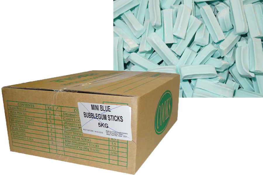Premium Mini Fruit Sticks Bulk - Blue with a Bubblegum Flavour, by Cooks Confectionery,  and more Confectionery at The Professors Online Lolly Shop. (Image Number :9886)