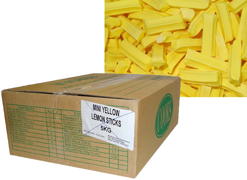 Premium Mini Fruit Sticks Bulk - Yellow with a Lemon Flavour, by Cooks Confectionery,  and more Confectionery at The Professors Online Lolly Shop. (Image Number :9894)