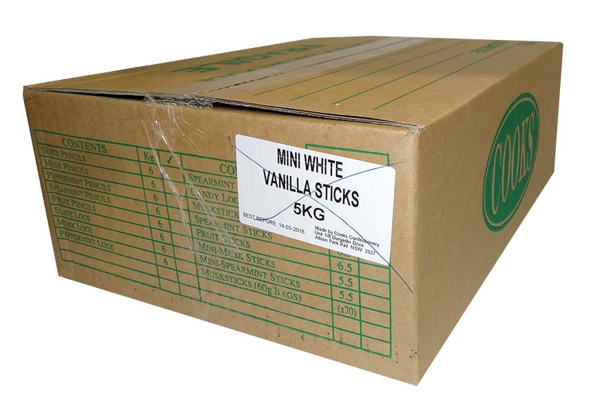 Premium Mini Fruit Sticks Bulk - White with a Vanilla Flavour, by Cooks Confectionery,  and more Confectionery at The Professors Online Lolly Shop. (Image Number :9898)