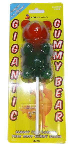 Gigantic Gummy Bear Lollipop - Single, by Lolliland,  and more Confectionery at The Professors Online Lolly Shop. (Image Number :9960)