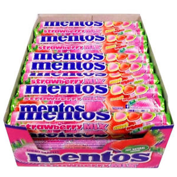 Mentos Strawberry Mix, by Perfetti Van Melle,  and more Confectionery at The Professors Online Lolly Shop. (Image Number :9933)