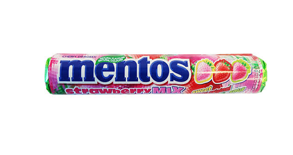 Mentos Strawberry Mix at The Professors Online Lolly Shop. (Image Number :9934)