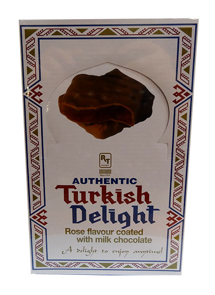 Turkish Delight - Rose Flavour coated in Milk Chocolate, by Real Turkish Delight Co,  and more Confectionery at The Professors Online Lolly Shop. (Image Number :10021)