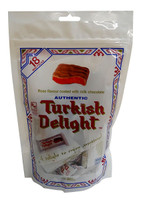 Turkish Delight - Bag - Rose Flavour coated in Milk Chocolate, by Real Turkish Delight Co,  and more Confectionery at The Professors Online Lolly Shop. (Image Number :10015)