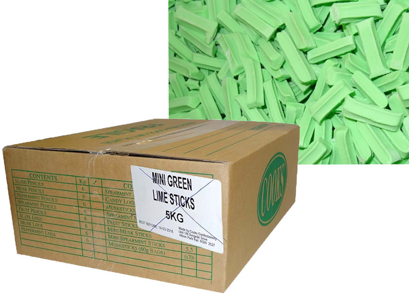 Premium Mini Fruit Sticks Bulk - Green with a Lime Flavour, by Cooks Confectionery,  and more Confectionery at The Professors Online Lolly Shop. (Image Number :9890)