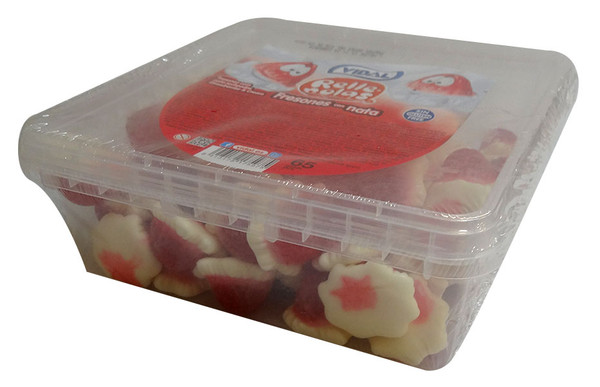 Vidal Jelly Filled Strawberries and Cream, by vidal,  and more Confectionery at The Professors Online Lolly Shop. (Image Number :10078)