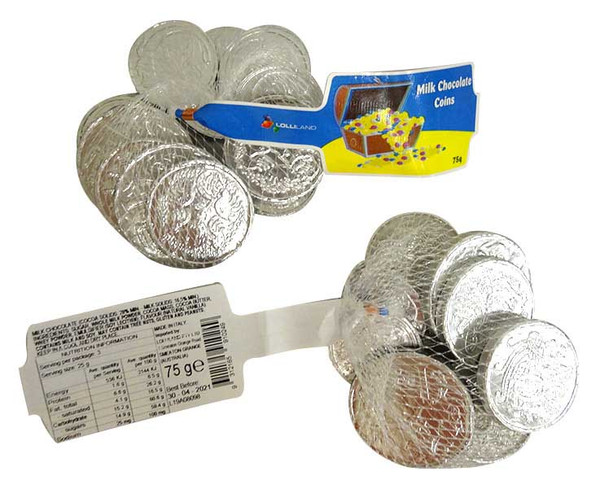 Lolliland Milk Chocolate Coins - Silver, by Lolliland,  and more Confectionery at The Professors Online Lolly Shop. (Image Number :13630)