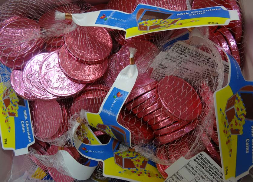 Lolliland Milk Chocolate Coins - Pink, by Lolliland,  and more Confectionery at The Professors Online Lolly Shop. (Image Number :10169)