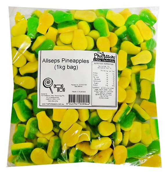 Allseps Pineapples, by Allseps,  and more Confectionery at The Professors Online Lolly Shop. (Image Number :12131)