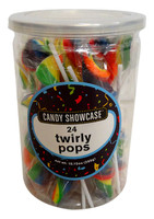 Candy Showcase Twirly Pops - Rainbow (24 x 12g pops in a tub)