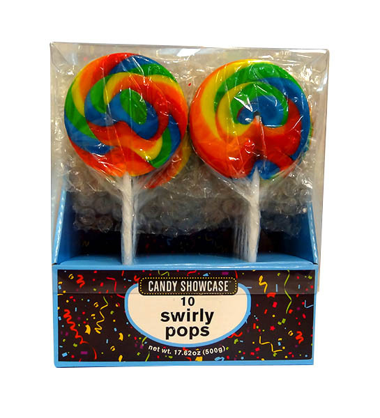 Candy showcase Swirly lollipops  - Rainbow, by Lolliland,  and more Confectionery at The Professors Online Lolly Shop. (Image Number :10395)