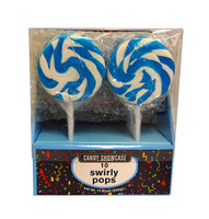Candy showcase Spiral lollipops  - Blue and White, by Lolliland,  and more Confectionery at The Professors Online Lolly Shop. (Image Number :10391)