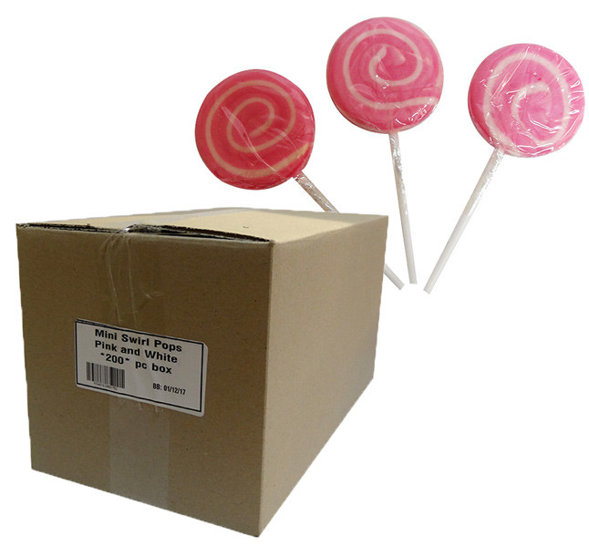 Mini Swirl Pops - Pink and White and more Confectionery at The Professors Online Lolly Shop. (Image Number :10154)