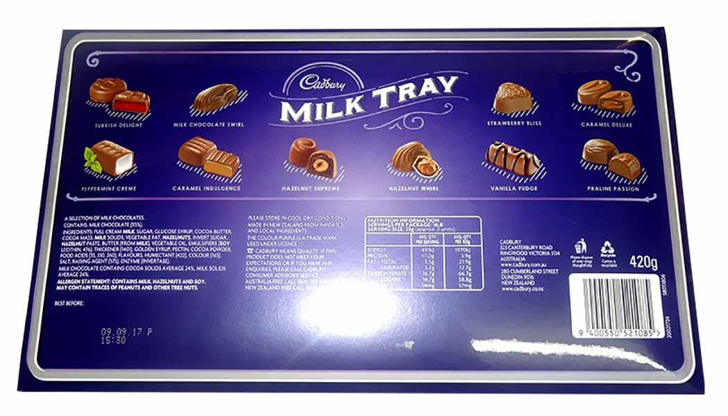 Cadbury Single Milk Tray Large, by Cadbury,  and more Confectionery at The Professors Online Lolly Shop. (Image Number :10205)