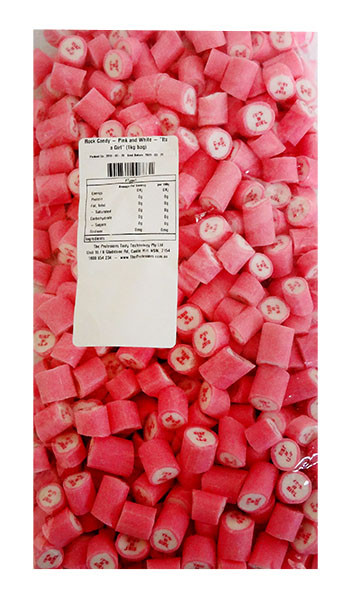 """Rock Candy - Pink and White - """"Its a Girl"""", by Designer Candy,  and more Confectionery at The Professors Online Lolly Shop. (Image Number :11354)"""