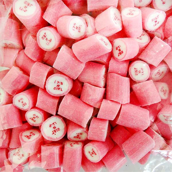 """Rock Candy - Pink and White - """"Its a Girl"""", by Designer Candy,  and more Confectionery at The Professors Online Lolly Shop. (Image Number :11355)"""
