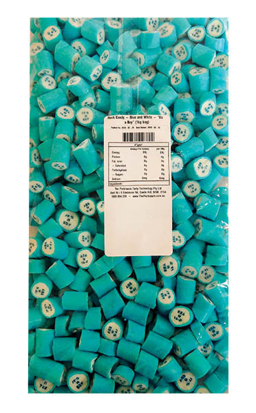 """Rock Candy - Blue and White - """"Its a Boy"""", by Designer Candy,  and more Confectionery at The Professors Online Lolly Shop. (Image Number :11352)"""