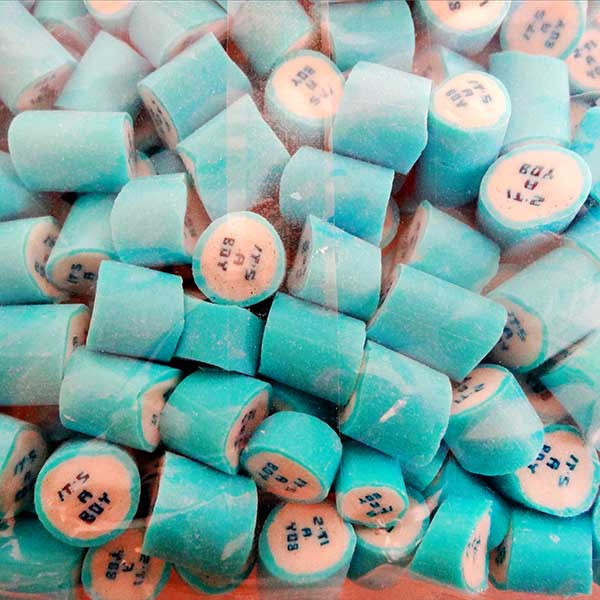 """Rock Candy - Blue and White - """"Its a Boy"""", by Designer Candy,  and more Confectionery at The Professors Online Lolly Shop. (Image Number :11353)"""
