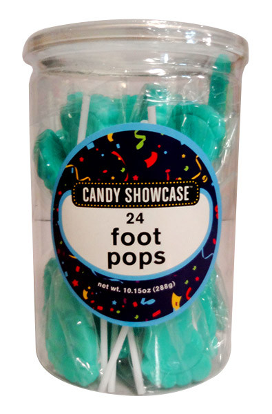 Candy showcase Foot Pops - Blue, by Lolliland,  and more Confectionery at The Professors Online Lolly Shop. (Image Number :11317)