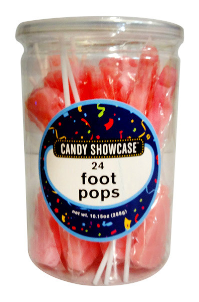 Candy showcase Foot Pops - Pink, by Lolliland,  and more Confectionery at The Professors Online Lolly Shop. (Image Number :11319)