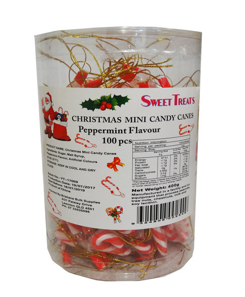Sweet Treats Mini Candy Canes with Ties, by Brisbane Bulk Supplies,  and more Confectionery at The Professors Online Lolly Shop. (Image Number :10694)