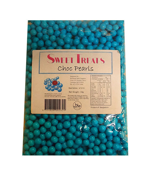 Sweet Treats Choc Pearls - Blue and more Confectionery at The Professors Online Lolly Shop. (Image Number :10415)