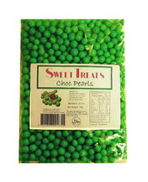 Sweet Treats Choc Pearls - Green and more Confectionery at The Professors Online Lolly Shop. (Image Number :10421)