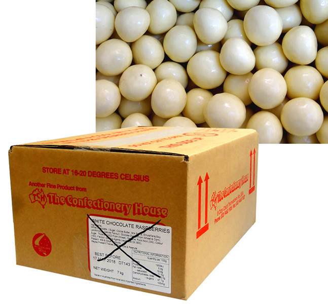 Premium White Choc Raspberries, by Confectionery Trading Company,  and more Confectionery at The Professors Online Lolly Shop. (Image Number :10426)